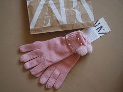 Перчатки zara kids l c жемчужинками и пушком розовые
