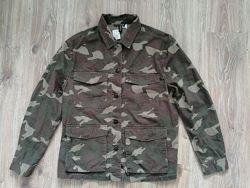 Куртка рубашка h&m 40 l милитари хаки
