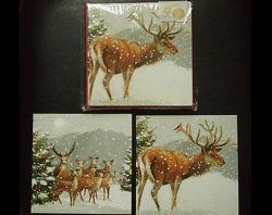 Коллекционные открытки 10 шт. laura ashley Новый Год снег олени
