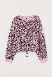 Свитшот оверсайз H&M розовая зебра с затяжкой по низу на L-XL
