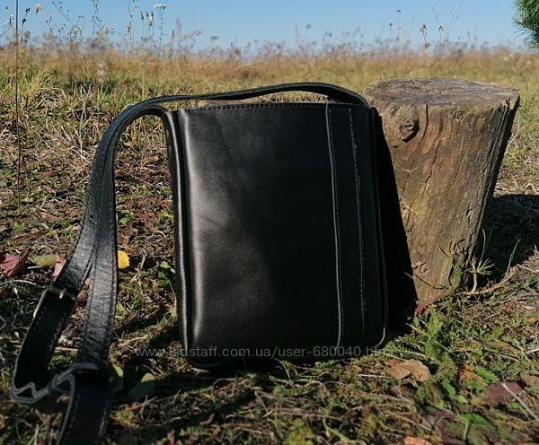 Мужская чоловіча кожаная шкіряна сумка барсетка  через плечо