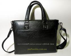 Мужская сумка портфель из искусственной кожи черная для формата А4 арт-1427