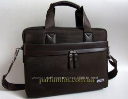 Мужская деловая сумка портфель коричневая из текстиля фотмата а4 арт-1678