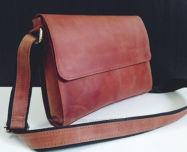 Мужская кожаная чоловіча шкіряна сумка натуральна шкіра сумки через плече