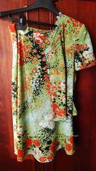Летний костюм из юбки и блузки-жакета размер s