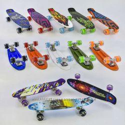 Скейт, пенни борд, Best Board - Penny Board разноцветный, свет колес