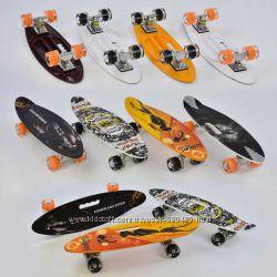 Скейт, пенни борд Best Board - Penny Board цветной, с ручкой, свет колес