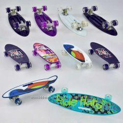 Скейт, скейтборд, пенни борд Best Board - Penny Board - цветной с ручкой