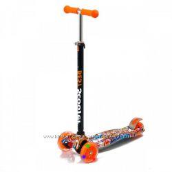 Детский самокат трехколесный Best Scooter maxi, светящиеся колеса