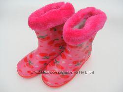Резиновые сапожки на девочку розовые DUAL