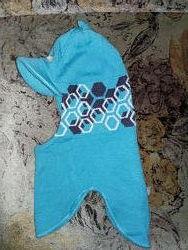 Голубой шлем Lenne с козырьком р. 50 шерсть 50 в идеальном состоянии
