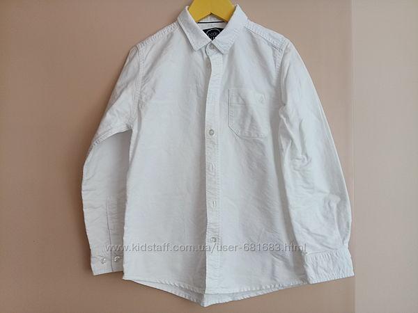 Белая и голубая рубашка в школу хлопок р.134 премиум качество Cool Club