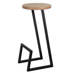 Стул барный и полубарный стілець 9, черный, сталь, дерево, СКИДКИ, тм Lovko