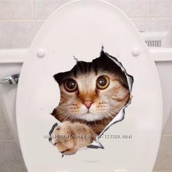 Наклейка 3D котик