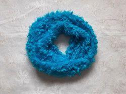 Яркий бирюзовый мягкий шарф ручная работа