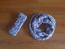 Комплект повязка и шарф, ручная работа