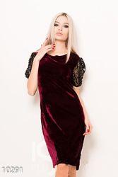 Праздничное велюровое платье с красивыми рукавами, р. М