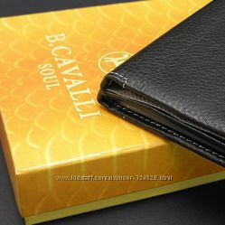 Кошелек мужской кожаный черный паспорт B. Cavalli 458