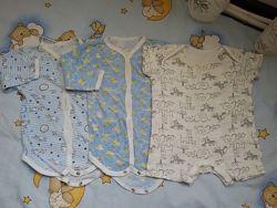 Пакет вещей на ребенка с длинным и коротким рукавом р.68-74 3-6 мес.