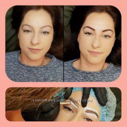 Перманентный макияж, пудровые брови, акварельные губы межрестничка