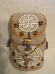 a29692ee9461 Женская молодежная сумка ручной работы из войлока с вышивкой бусинами под ж