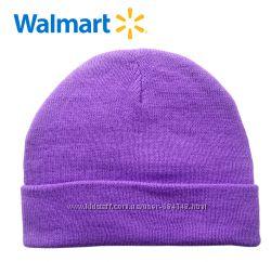 Шапки демисезонные на 4-6 лет Walmart Америка сиреневые однотонные