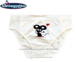 Трусы слипы для девочек от 2 до 7 лет белые Мышка, Santagostino Италия