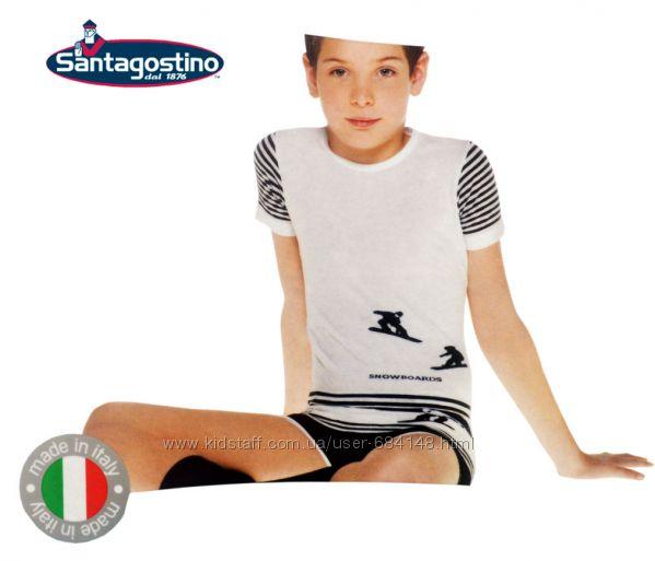 Футболка детская белая с рисунком на 4-5 лет, Santagostino Италия