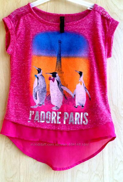 Футболка туника Я люблю Париж на девочку 4-5 л 104-110см бренд Hybrid США