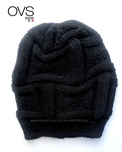 Шапка деми деми черная вязанная для мальчика на 6-8 лет ОГ 54 см OVS Италия