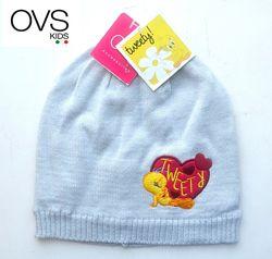 Шапки для девочек детские демисезон на 6-9 мес и 12-18 мес OVS kids Италия