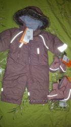 Зимний комбинезон для девочки H&M размер 4-6мес.  пинетки рукавицы