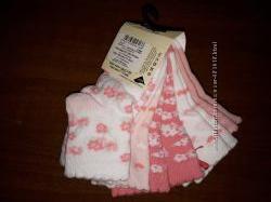 Фирменные носочки и слюнявки для девочек от GEORGE Англия на 0-24мес