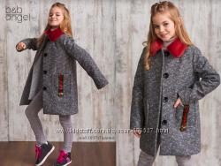Теплое твидовое пальто, с меховым воротничком, Baby Angel, р. 122-134