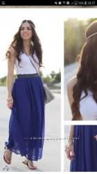 макси юбка шифоновая красивого синего цвета