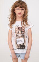 Нарядная футболка H&M Котик с объемными крыльями Размеры на 2-4 и 8-10 лет
