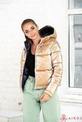 Женская демисезонная короткая куртка двухсторонняя c капюшоном