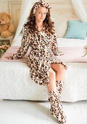 Халат и сапожки Eirena Nadine от 4 до 14 лет. Леопард