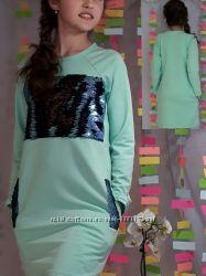 Платье туника с живыми пайетками -перевёртышами