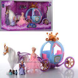 Кукла с каретой и лошадью 205A лошадь ходит, на батарейках