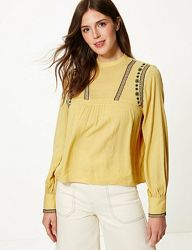 Натуральная блуза с вышивкой M&S