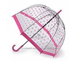 Женский прозрачный зонт-трость Fulton Birdcage-2 L042 - Pink Polka - Розов