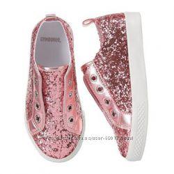 Розовые игристые кеды для девочки