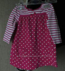 Платье в горошек на малышку 4-8 мес хлопок натуральный мягусенькое супер