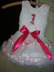 Платье на годик розочка жемчуг юбка в виде пачка туту с бодиком