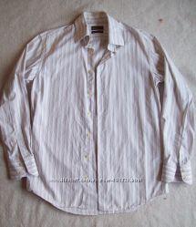 Рубашки в полоску белые, ворот 39-40