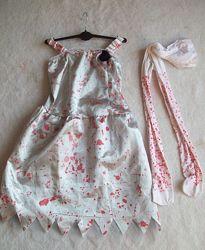 Платье и колготки кровь хэллоуин, на 7-8 лет