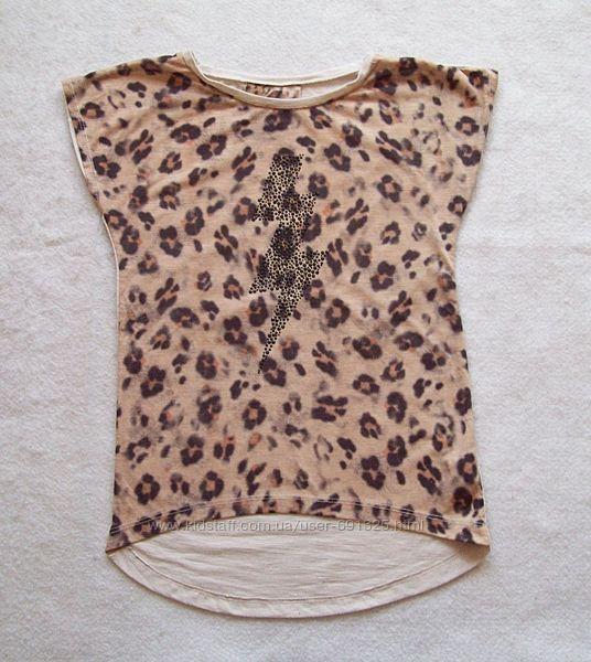 Футболка молния леопард, длина 53 см.
