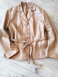 Кожанная курточка - пиджак жакет песочный цвет наш 50