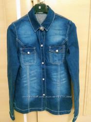 Джинсовая рубашка на девочку 42 размер 14-15лет